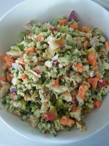 My favourite salad - Broccoli, carrot, red onion, apple, yogurt and lemon juice.